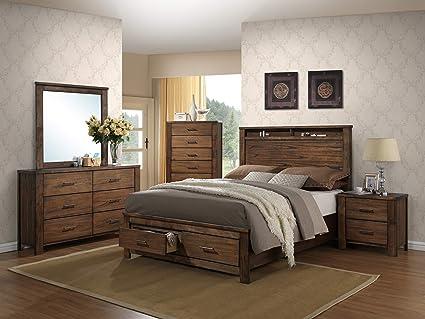Amazon.com: Bedroom Furniture Modern 4pc Set Natural Wood Finish ...
