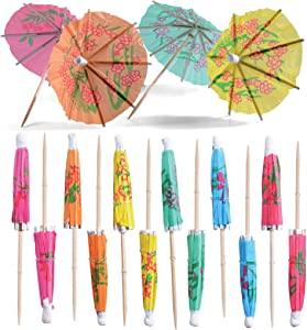 Prextex Umbrella Cocktail Picks - Bulk Pack of 220 Assorted Tropical Color Party Picks with Parasol Detail for Tiki Bars, Picnics, Party Drinkware, Cake Toppers, and Party Decoration