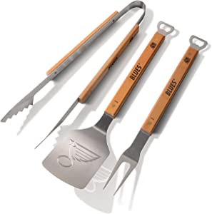 "YouTheFan NHL 3-Piece Classic Series BBQ Grill Set: 18"" Stainless Steel Sportula (Spatula), Fork & Tongs with 2 Bottle Openers"