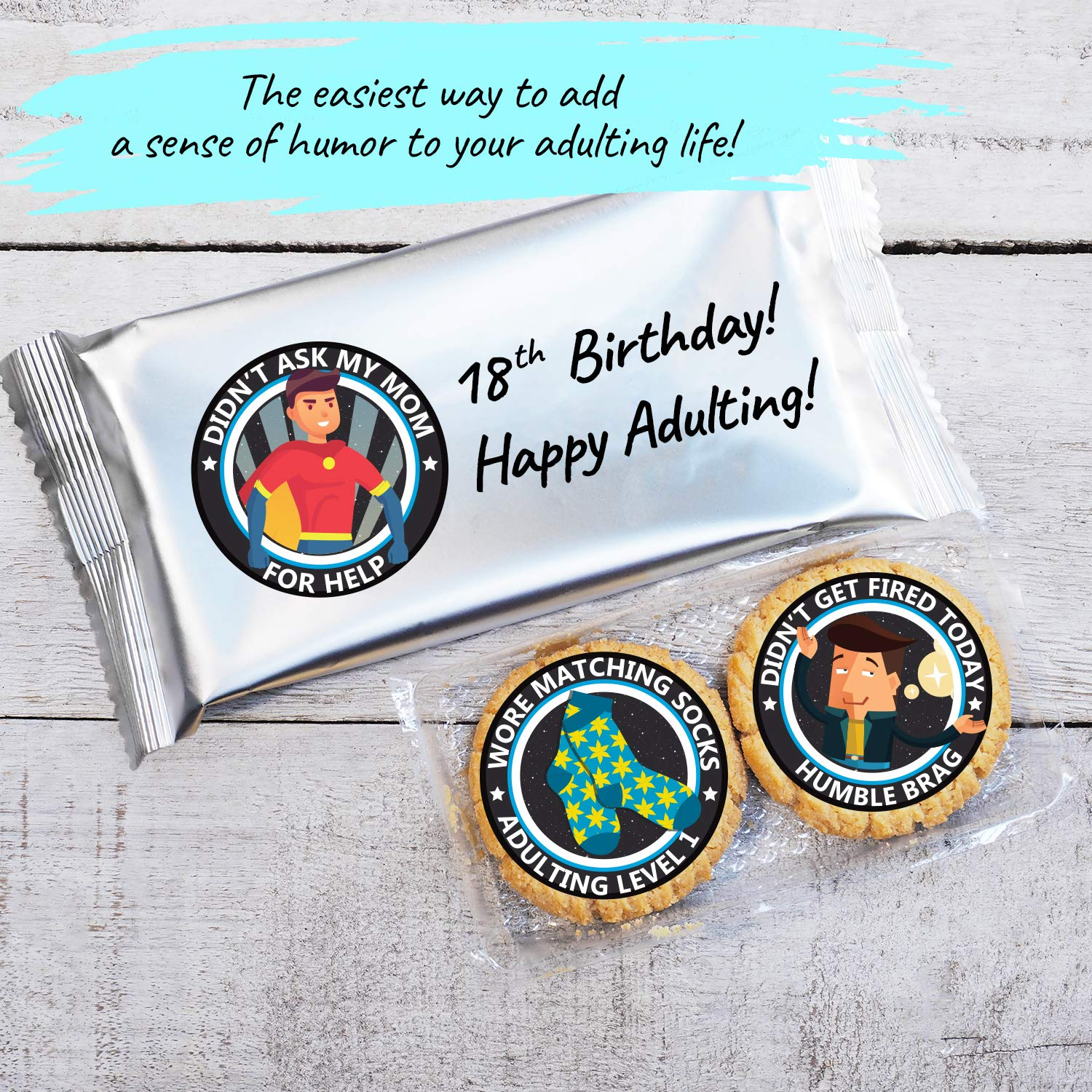 Customise your party gifts easily with just our Howcrafts adulting stickers