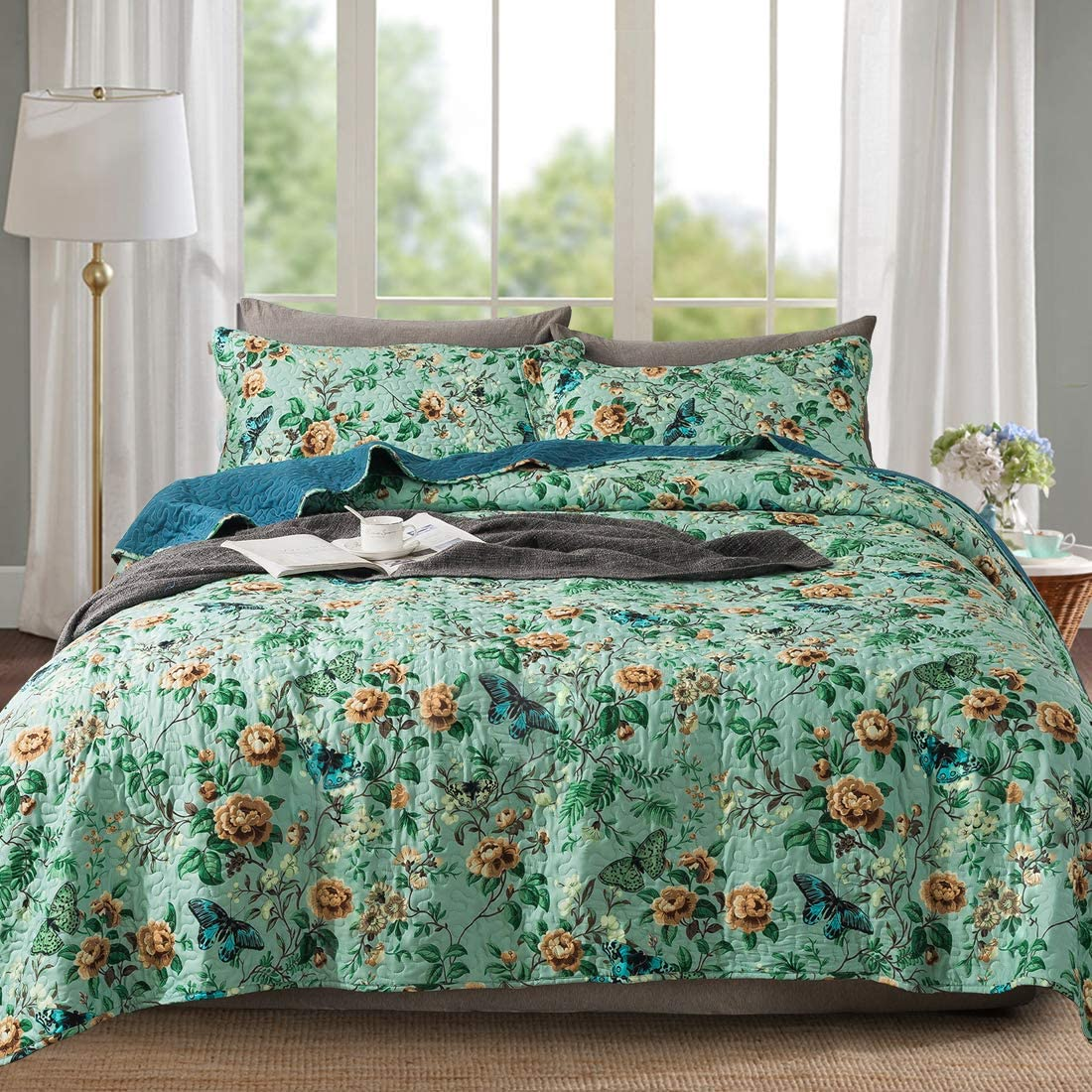 Travan Queen Quilt Set 3-Piece Bedspread Quilted Oversized Lightweight Microfiber Coverlet Set with Shams Floral Pattern Quilted Bedding Set for All Season