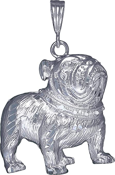 Sterling Silver Bulldog Charm Pendant Necklace Diamond Cut Finish with Chain