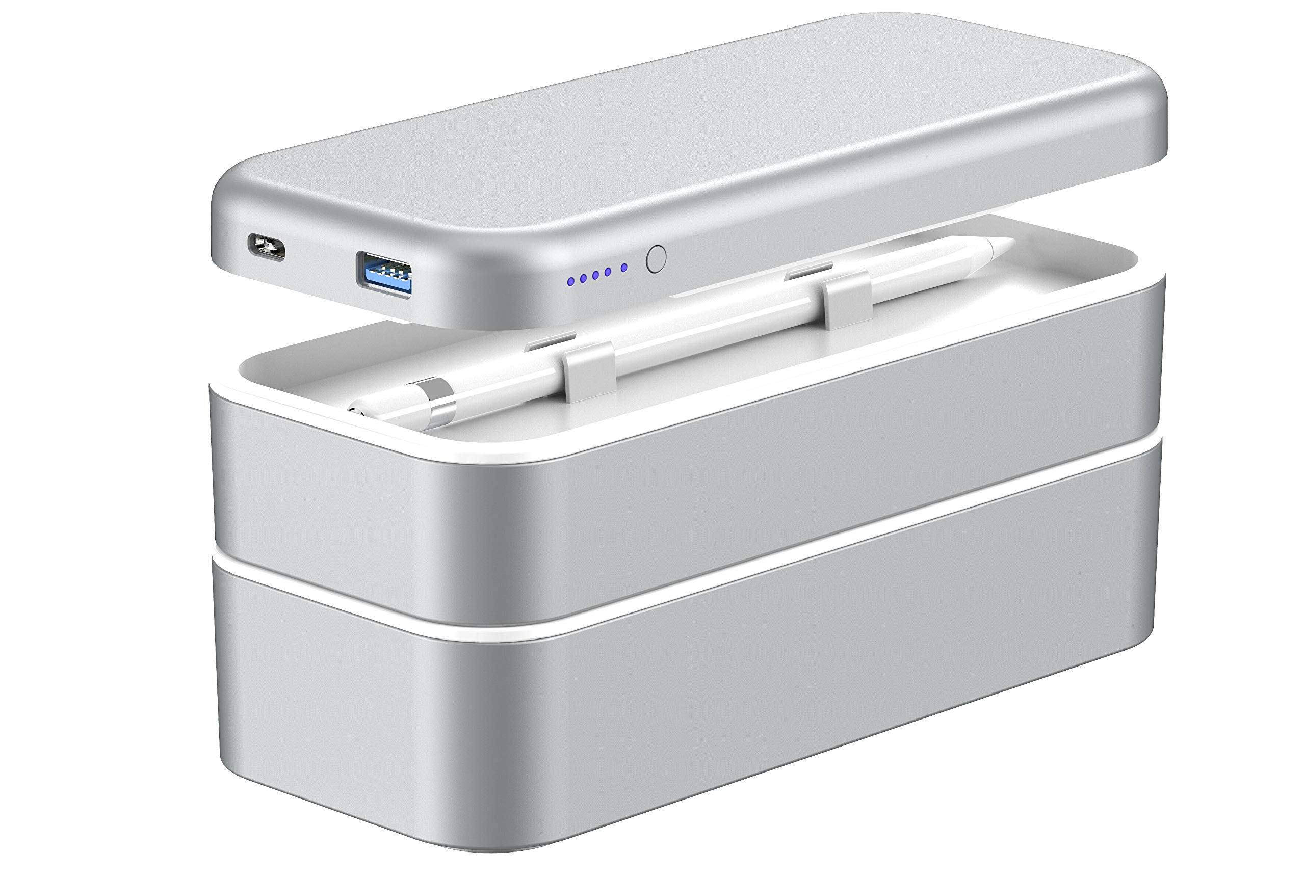 Function 101 BentoStack Charge Accessory Travel Case and Desktop Organizer with Qi Wireless Charging Cover and Power Bank, Compatible with Apple Products. Fits USA Style Wall Chargers {Silver}
