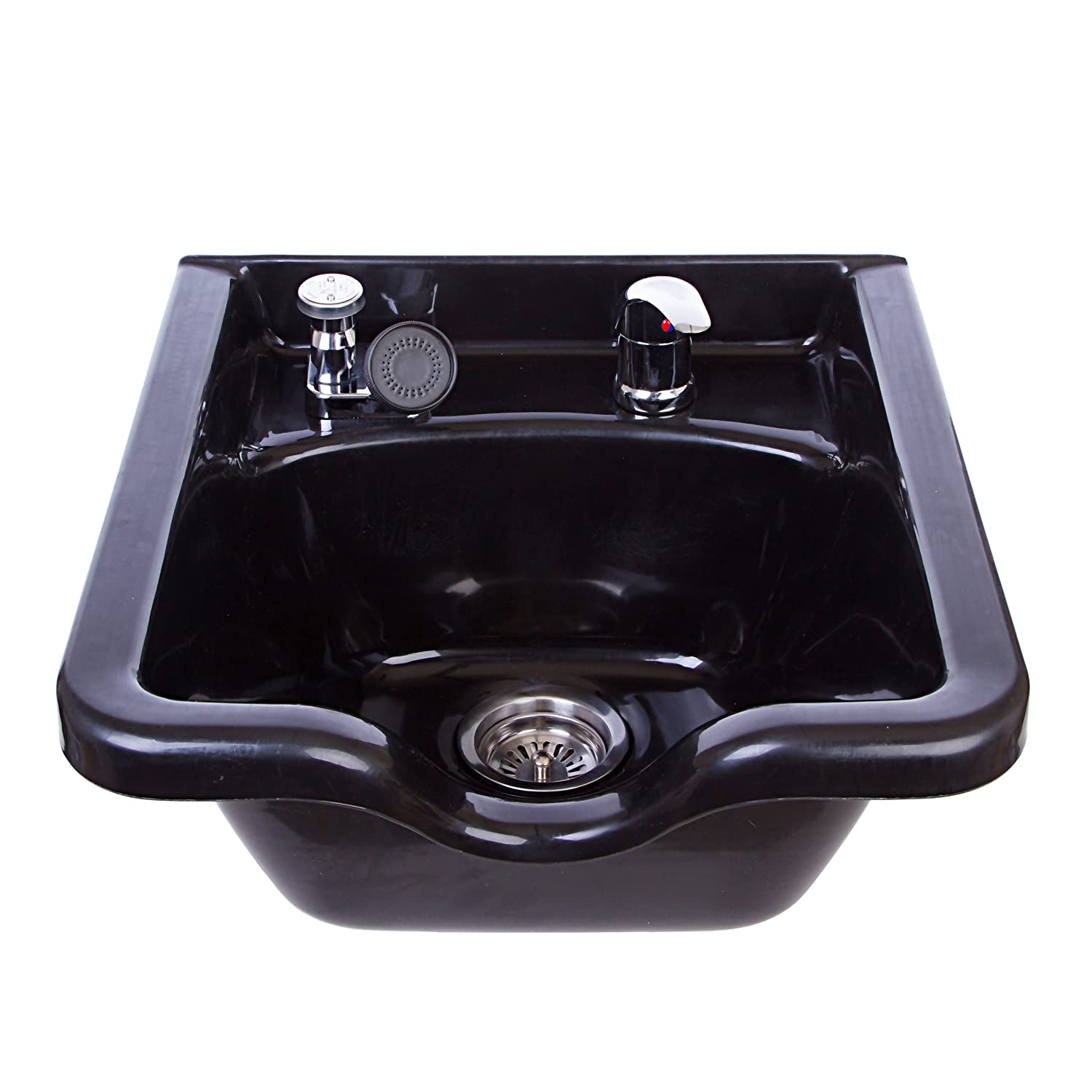 Square Shampoo Bowl Black ABS Plastic Salon and Spa Hair Sink Beauty Salon Equipment TLC-1016 KSGT eMark Beauty TLC-B11