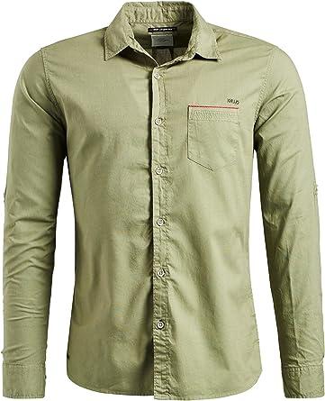 Khujo Camisa Casual - Liso - Manga Larga - para Hombre Verde Oliva M: Amazon.es: Ropa y accesorios