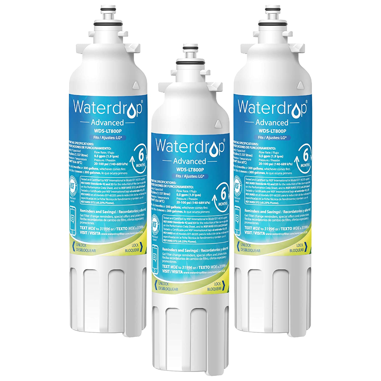 Waterdrop ADQ73613401 NSF 53&42 Certified Refrigerator Water Filter, Compatible with LG LT800P, Kenmore 9490, ADQ73613402, LSXS26326S, LMXC23746S, LSXS26366S, 46-9490, 469490, LMXC23746D, Pack of 3