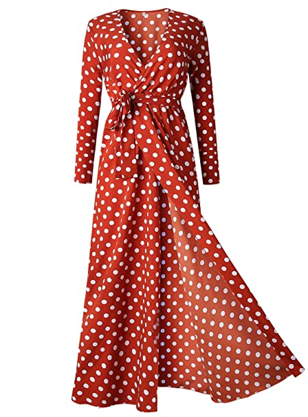 59ad471c0bb BTFBM Women Polka Dot V-Neck Sleeves Vintage Boho Split Maxi Dress with  Belt Flowy Vacation Party Long Dresses (Medium
