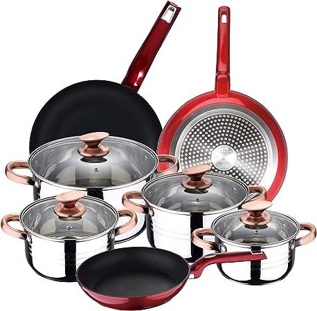 BERGNER Set 3 sartenes y Batería de cocina 8 piezas: Amazon.es: Hogar