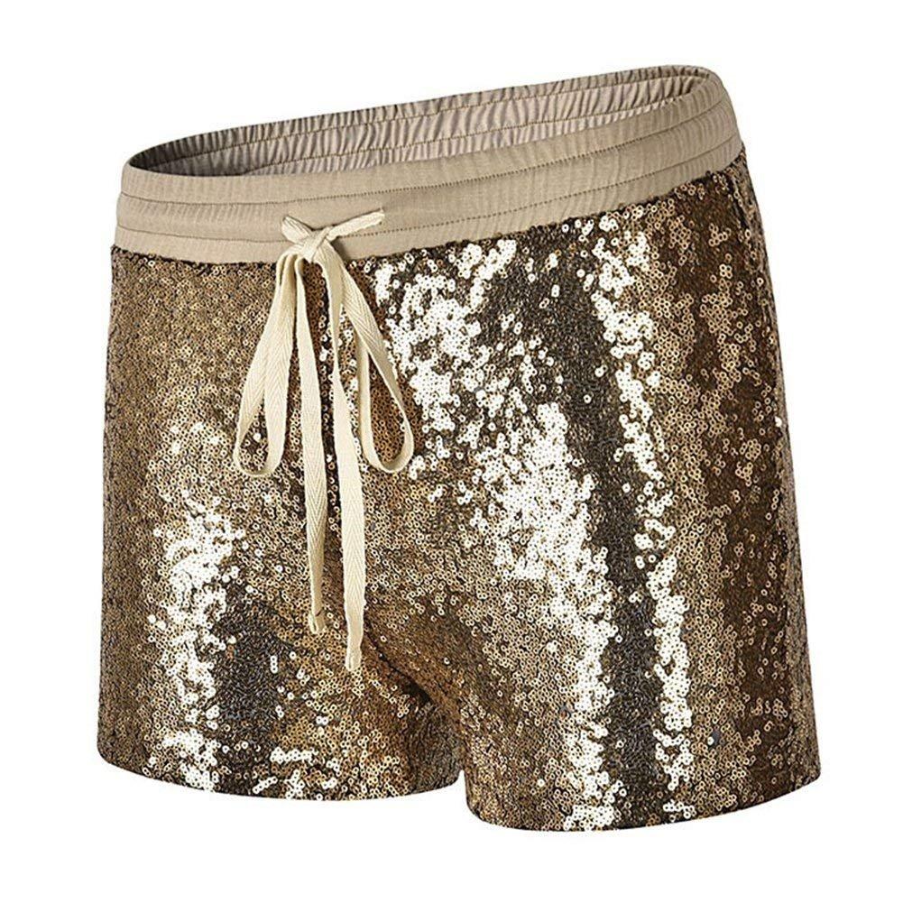 Pantaloncini Corti Donna Eleganti Brillantini Paillettes Vita Elastica con Coulisse Hot Pants Fashion Bello Chic Ragazza Slim Fit Clubwear Party Shorts Abbigliamento