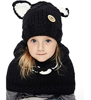 aab9d3ba490 Sumolux Winter Kids Warm Fox Animal Hats Knitted Coif Hood Scarf Beanies for  Autumn Winter