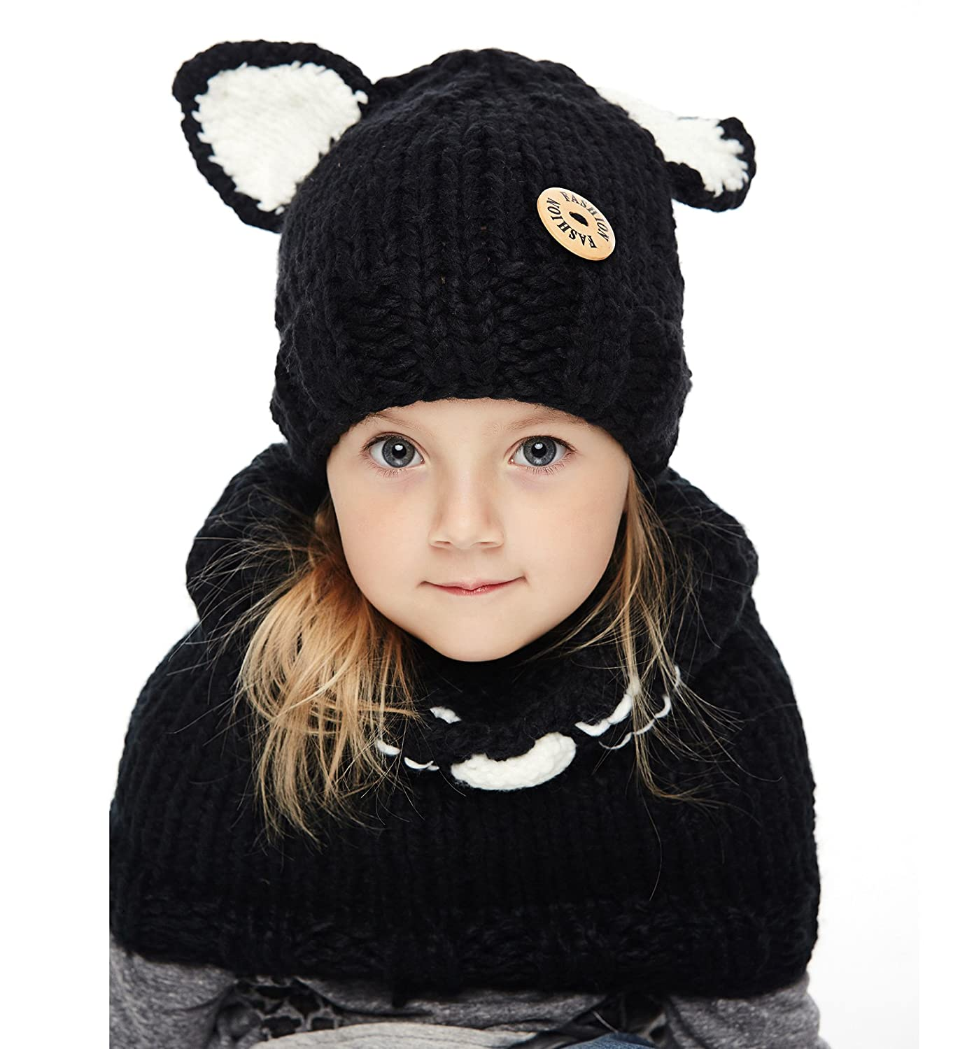 20a1de479 Sumolux Winter Kids Warm Fox Animal Hats Knitted Coif Hood Scarf Beanies  for Autumn Winter
