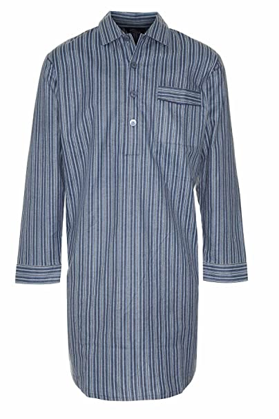 Mens 100% Cotton Blue Navy Striped Nightshirt Night Shirt CHAMPION NAVY  MEDIUM 9b8e5e428