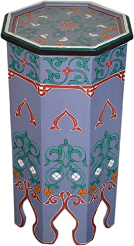 Moroccan Wood Side End Table Corner Coffee Handmade Hand Painted Moorish Purple Tall