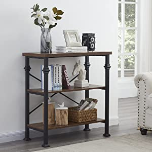 Hombazaar 3-Tier Rustic Bookshelf,Modern Industrial Bookcase with Storage Shelves for Living Room Bedroom Kitchen Home Office ,34.7 inches,Brown