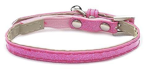 Hilo para cosas purpurina tela gato collar rosa (5 unidades)