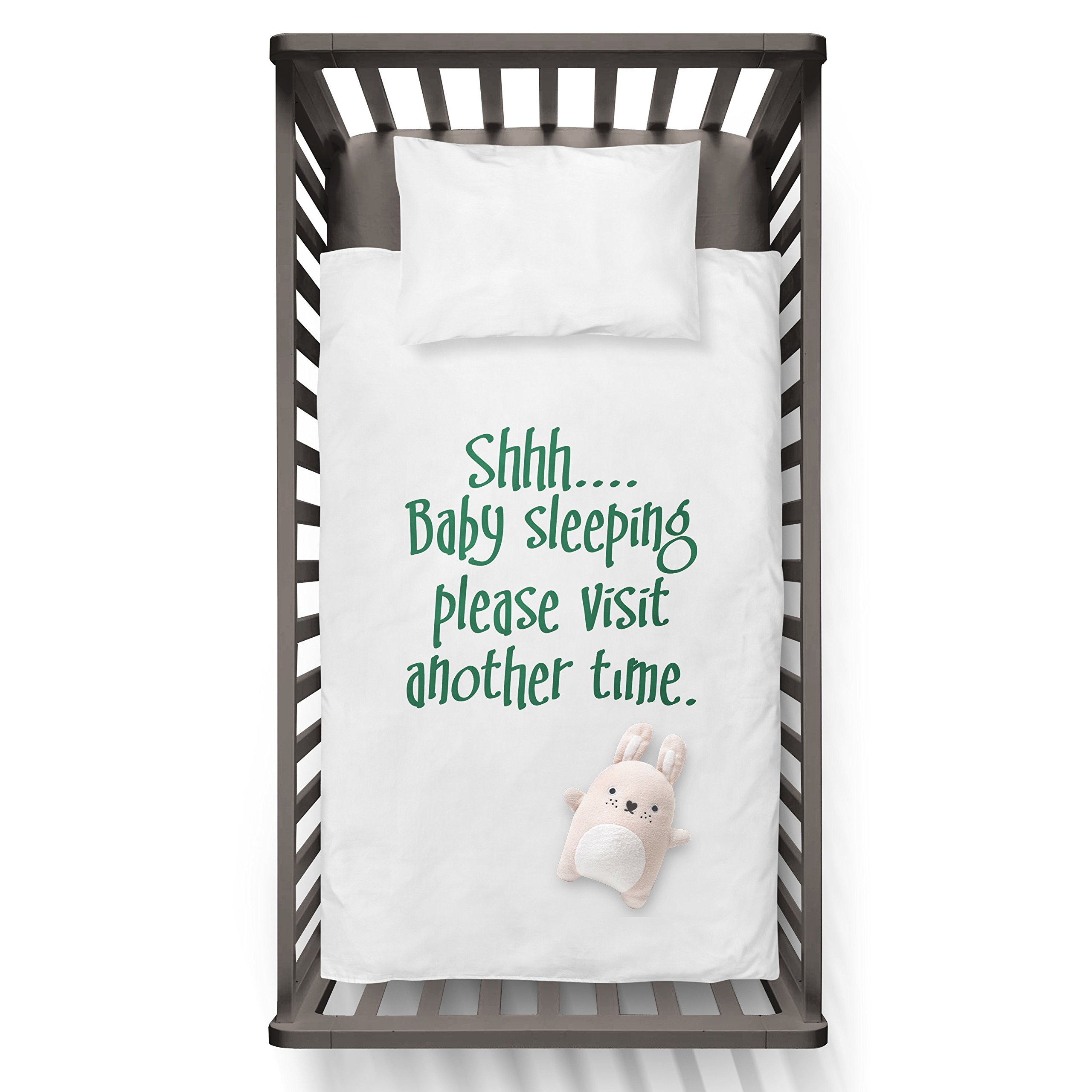 Shhhh..Baby Sleeping Please Visit Another Time. Funny Humor Hip Baby Duvet /Pillow set,Toddler Duvet,Oeko-Tex,Personalized duvet and pillow,Oraganic,gift
