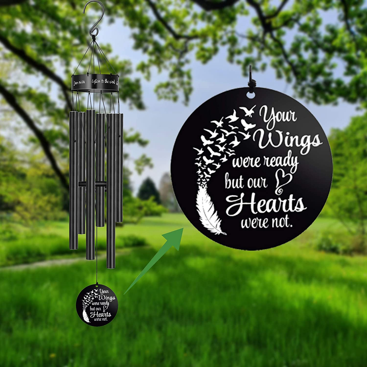 MEMGIFT Sympathy Wind Chimes for Loss of Loved One Memorial Gifts Loss of Mother Father Wife Husband Daughter Large Angel Windchimes Garden Patio Home Déco Your Wings were Ready but My Heart was Not