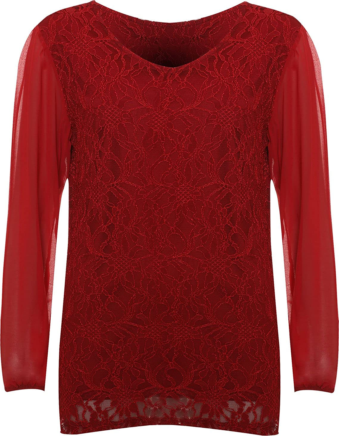 WearAll Womens Plus Size Lace Lined Sheer Long Sleeve Ladies Chiffon Tunic Party Top - Sizes 14-28 39604