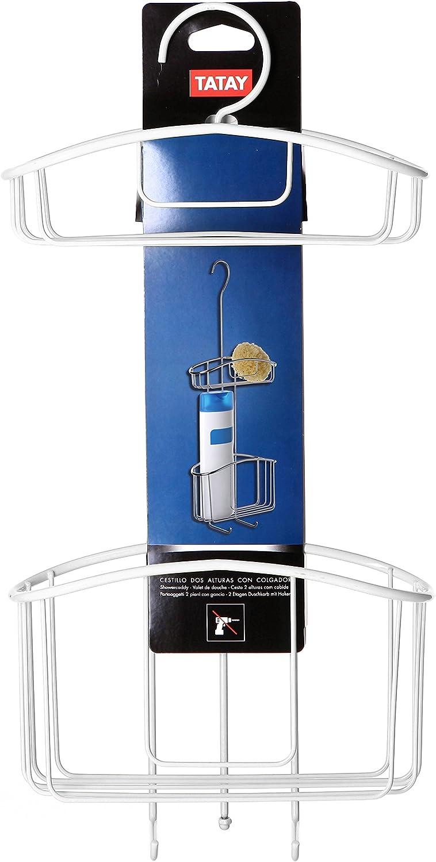 100/% INOX Azul 22,5 x 9 x 60 cm Tatay 4437900 Cesta organizadora de Ducha con Colgador y Dos baldas Acero Lacado