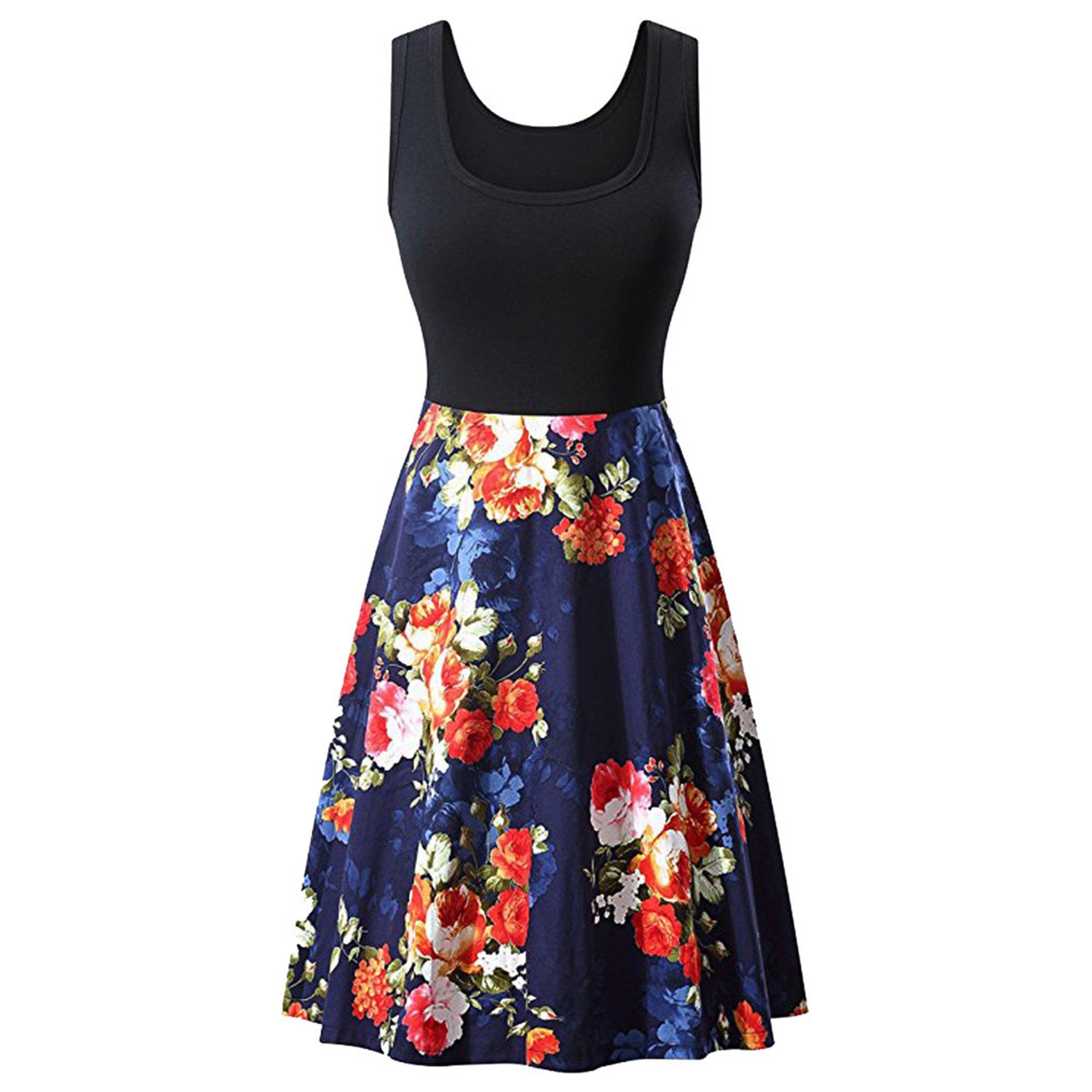 Londony Hot Women's 1950s Butterfly Floral Vintage Dresses Audrey Hepburn Style Party Dresses (❤️B-Navy, XL)