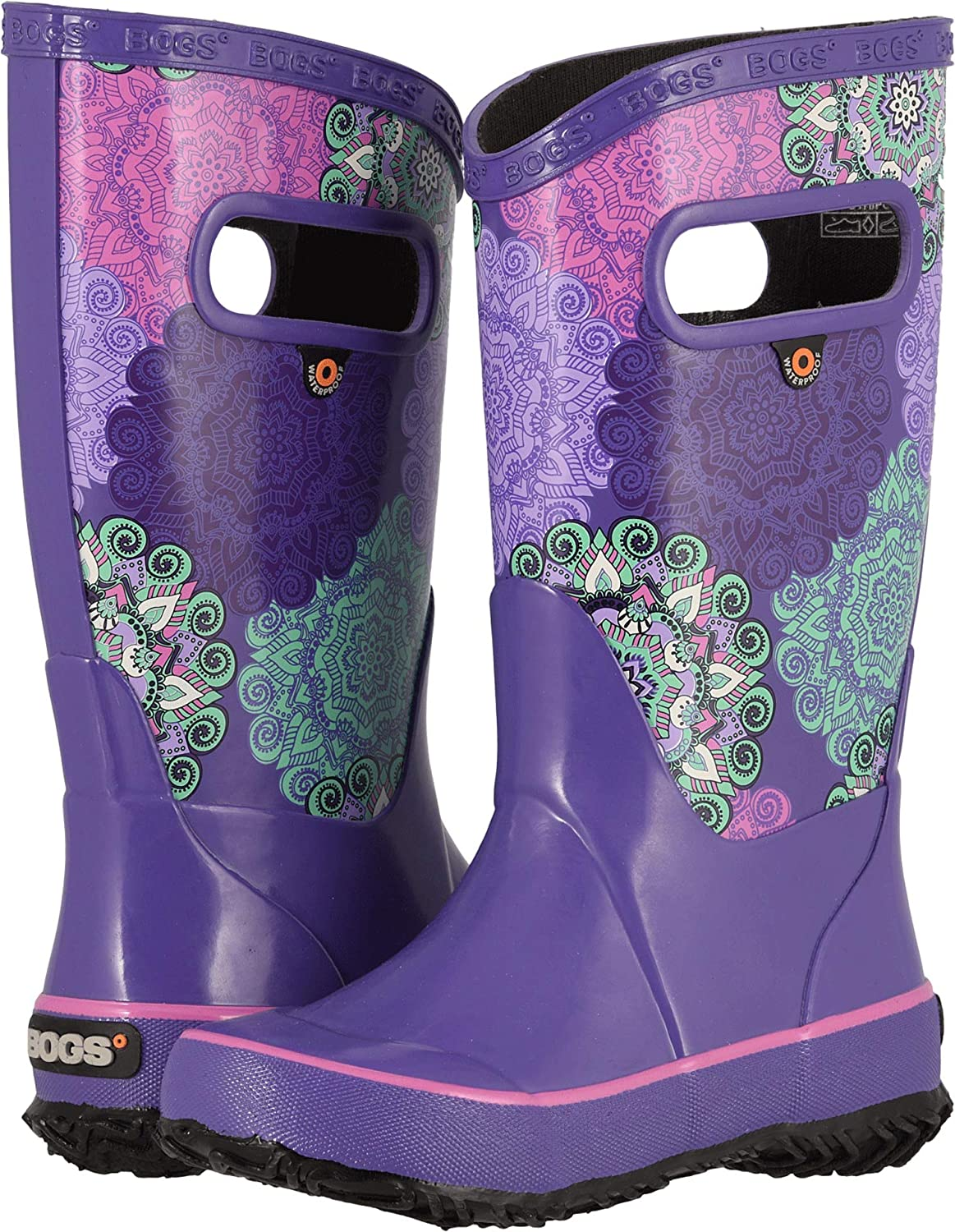 Bogs Kids Girls Rain Boot Mandalla Toddler//Little Kid//Big Kid Violet Multi 13 Little Kid M