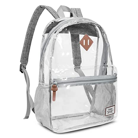 13d927c4a542 Roll over image to zoom in Clear Backpack Transparent Bag Casual  See-Through Rucksack for Women/Men (Grey)