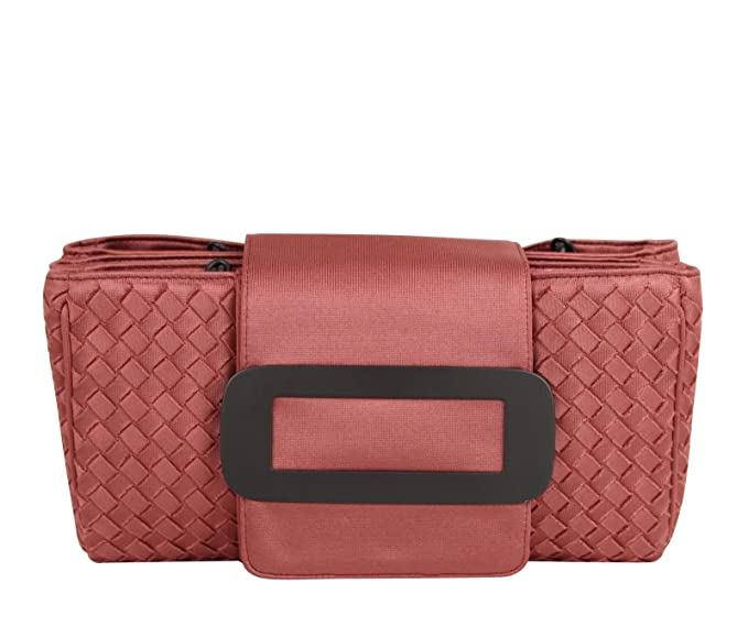 Bottega Veneta Intrecciato Coral Fabric Tote Handbag With Chain Handle 309348 6323
