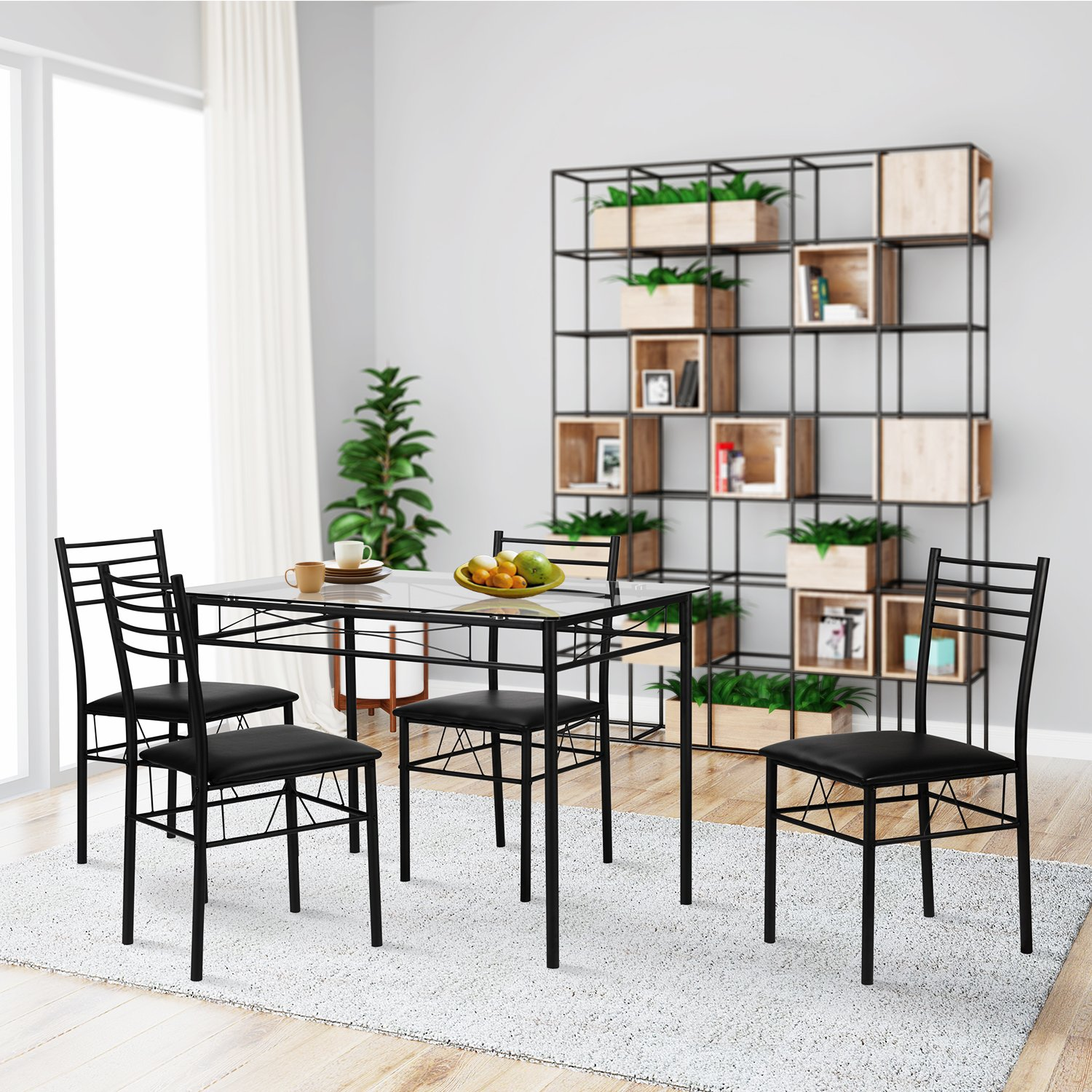 Amazon VECELO Dining Table with 4 Chairs Black Kitchen & Dining
