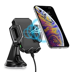 CHOETECH Wireless Car Charger, USB Type C 7.5W Wireless Car Charging Mount Stand Compatible with iPhone XR/XS MAX/XS/X/8/8 Plus, 10W Fast Wireless Charging for Samsung Galaxy S10/S9/S8/Note 9/Note 8