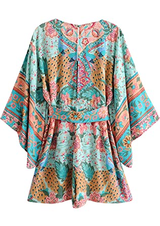Everkaki Women Lotuso Boho Romper Gypsy Collective Long Sleeve Print Jumpsuit V Neck High Waist Casual
