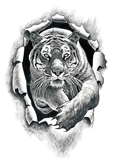"""7e81dd46d6dfd Image Unavailable. Image not available for. Color: fierce black tiger large  8.25"""" half-sleeve arm tattoo tattoos ..."""