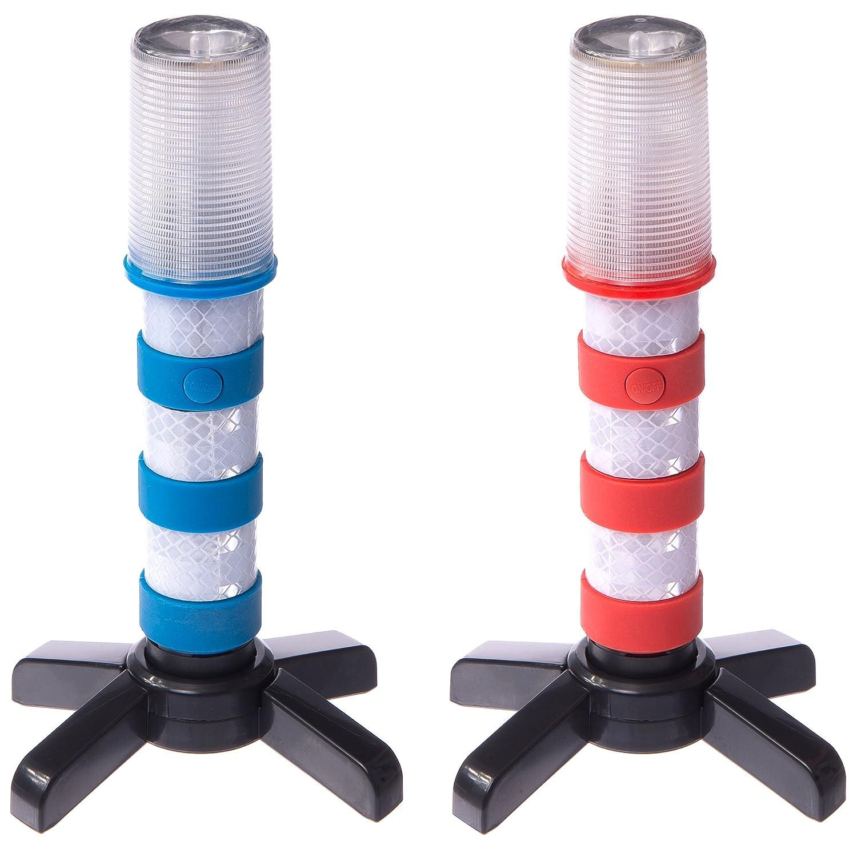 Magnatek LED Flashing Roadside Emergency Beacon Flares-Two RED/BLUE Flares with Solid Storage Case Barrantyne (BMG))