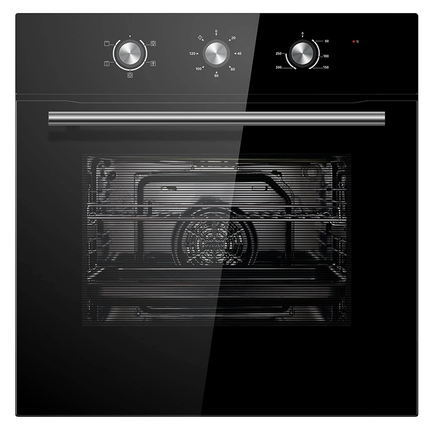 Cookology COF600BK 60cm Black Built-in Single Electric Fan Forced Oven & timer [Energy Class A]