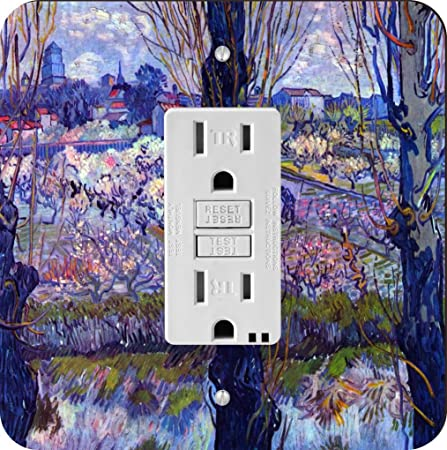 Rikki Knight Light Blue Yellow Flowers on White Single Outlet Plate