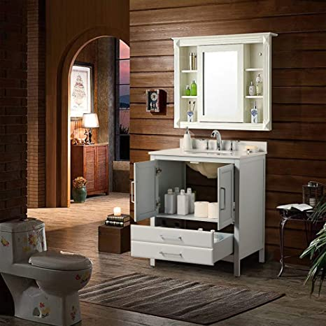 Amazon.com: Vanity Art 30 Inches Single Sink Bathroom Vanity Cabinet Soft  Clothing Doors 1 Shelf 2 Drawers Slim And Modern With White Cultured Marble  Top VA3230G: Kitchen & Dining