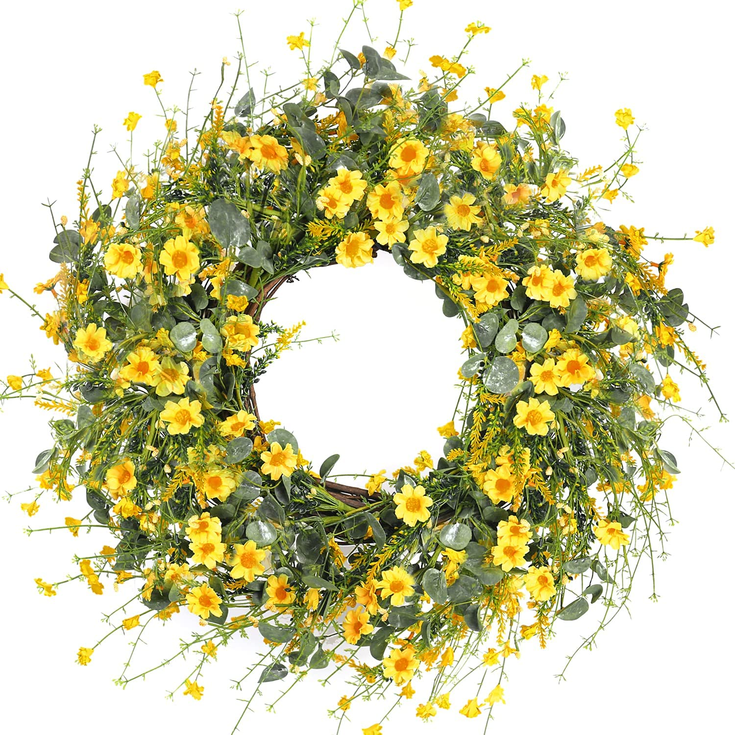 Sggvecsy Yellow Daisy Wreath 24 Inch Spring Summer Wreath Fake Silk Floral Wreath with Green Eucalyptus Leaves and Lavender for Front Door Window Wall Wedding Farmhouse Festival Decor