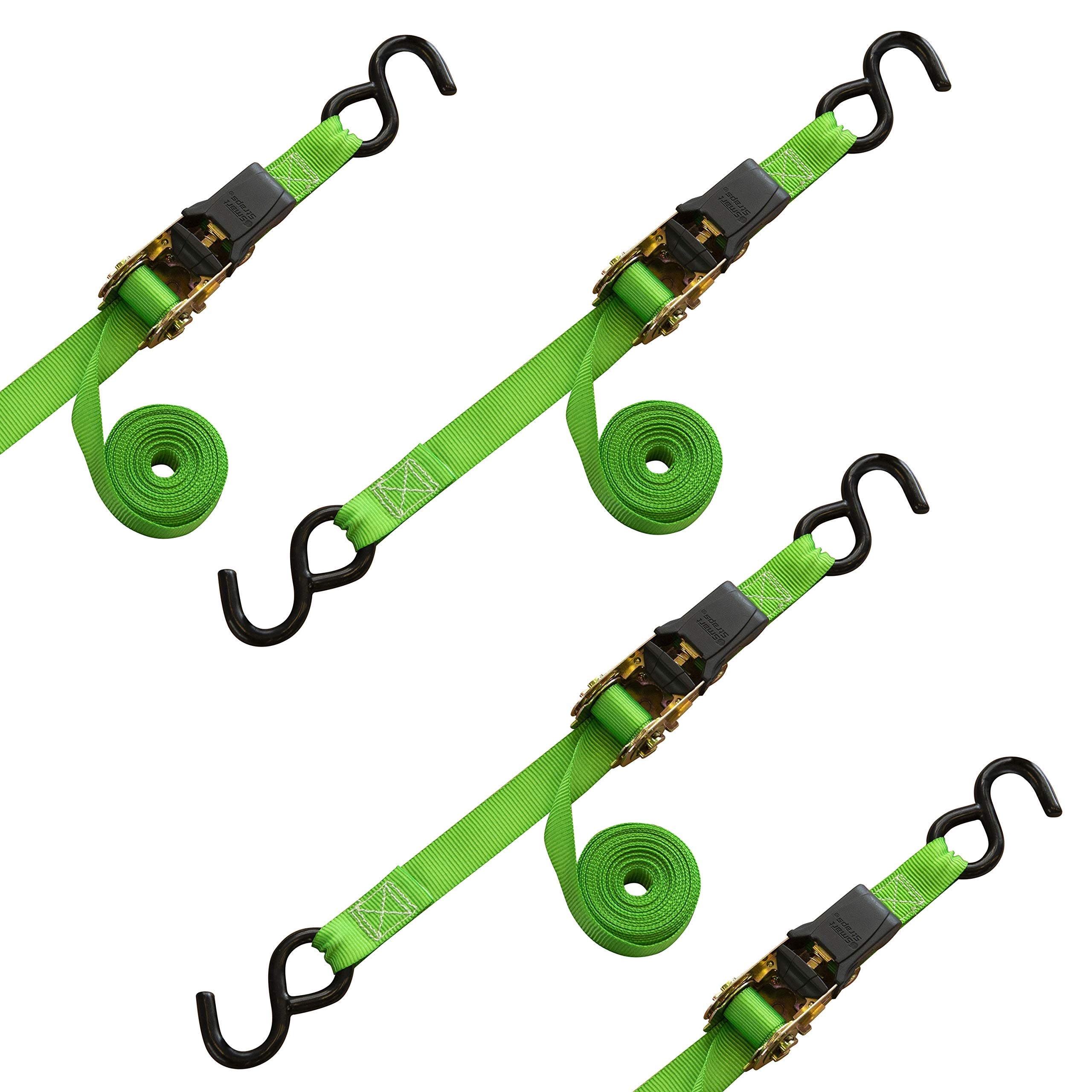 SmartStraps 14-Foot Padded Ratchet Tie Down (4pk) 1,500 lbs Break Strength - 500 lbs Safe Work Load – Haul Lighter Loads in Your Pickup – Secure Dirt Bikes, ATVs, Mowers and More by SmartStraps