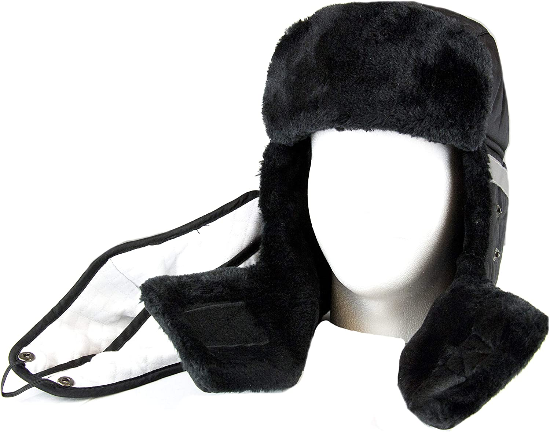 Sakkas Dab Unisex Faux Fur Chin Strap Removable Face Mask Winter Cold Trooper Hat