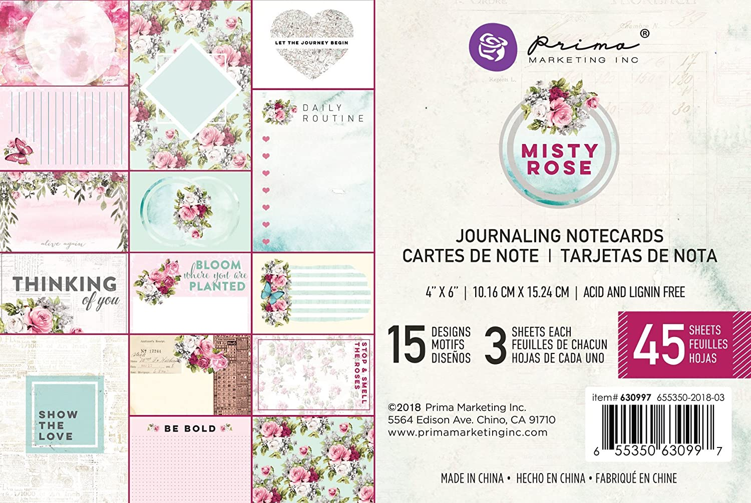 "Prima Midnight Garden 4/""x6/"" Journaling Note Card Pad 636036"