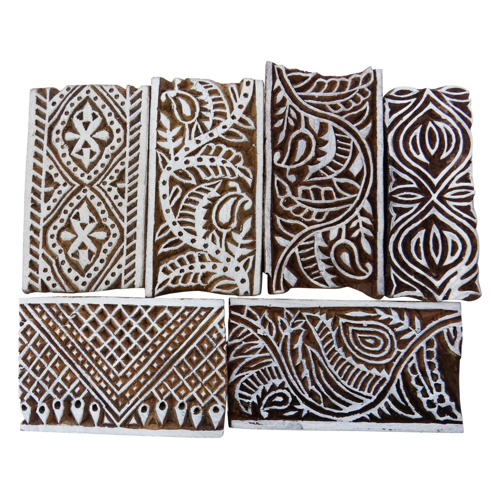 Lot Of 6 Pcs Hand Carved Printing Block Wooden Stamps Border Stamp Blockprint by Knitwit