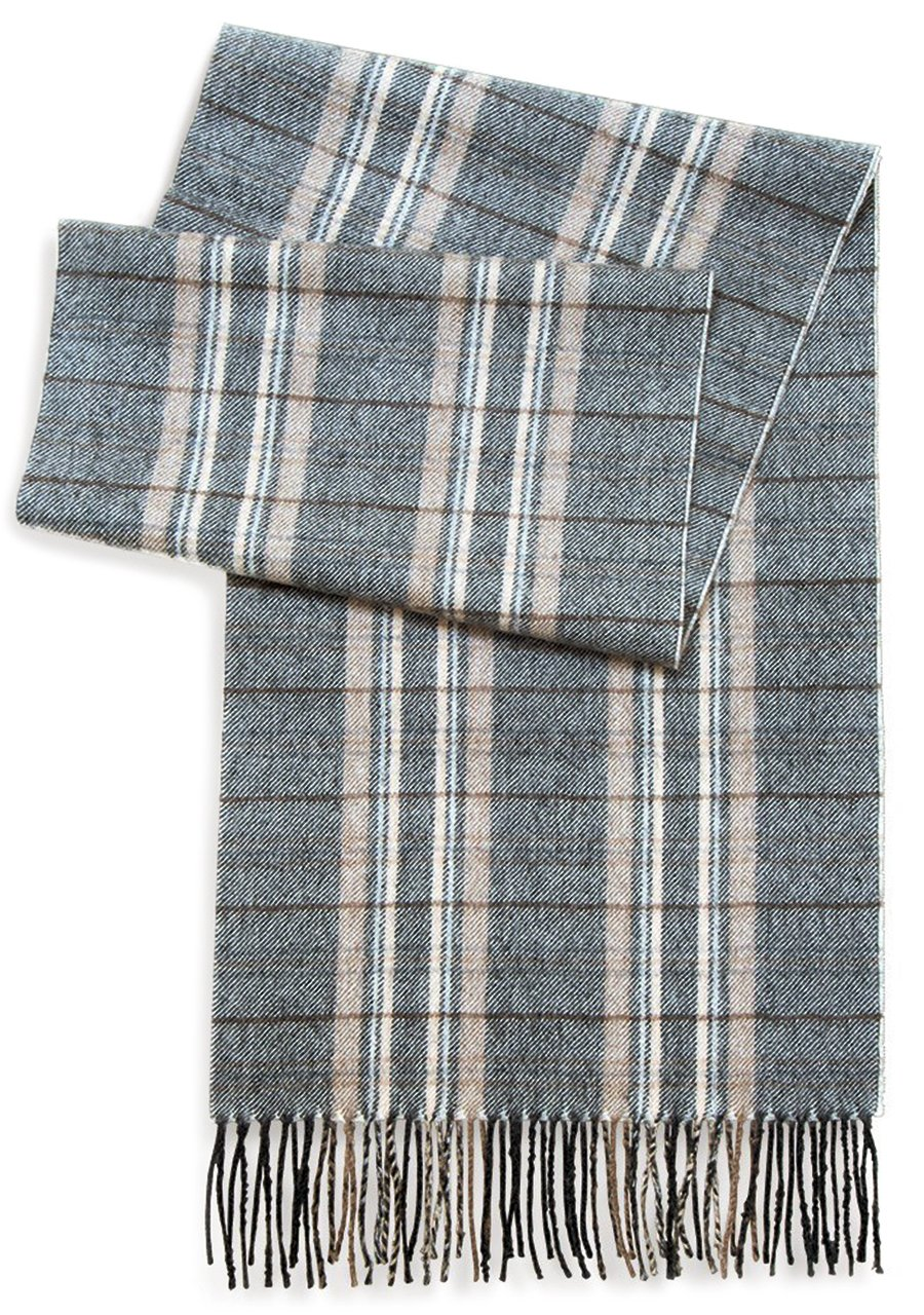 Tartan Plaid Flannel Scarf - 100% Baby Alpaca Wool - Unisex - Dye Free, All Natural, a Stylish Accessory or Gift for Any Man or Woman (Porter & Stone)