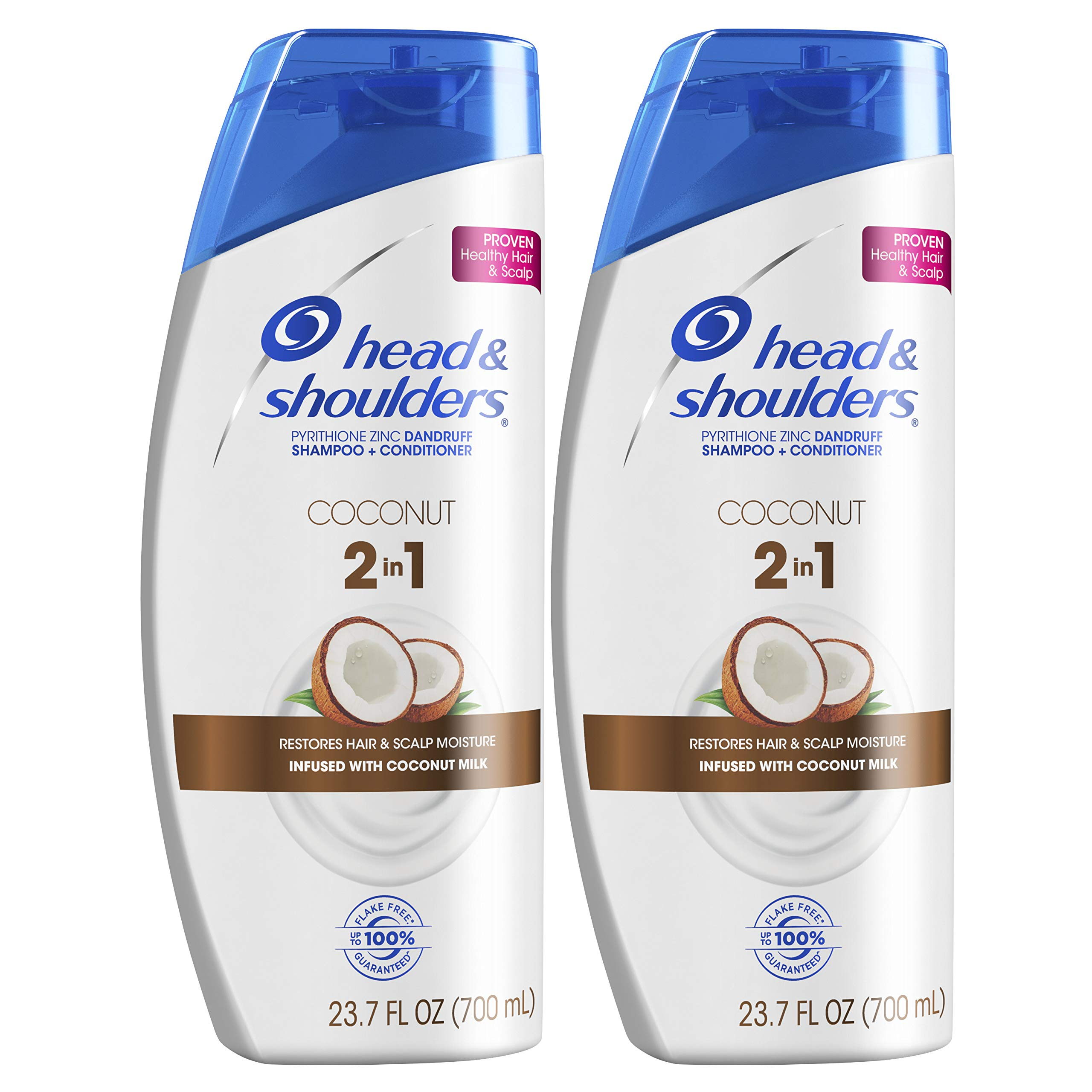 Head and Shoulders Shampoo and Conditioner 2 in 1, Anti Dandruff Treatment and Scalp Care, Coconut Daily Use, 23.7 fl oz, Twin Pack by Head & Shoulders