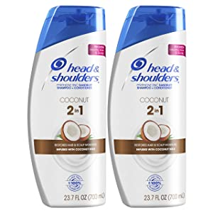 Head and Shoulders Shampoo and Conditioner 2 in 1, Anti Dandruff Treatment and Scalp Care, Coconut Daily Use, 23.7 fl oz, Twin Pack