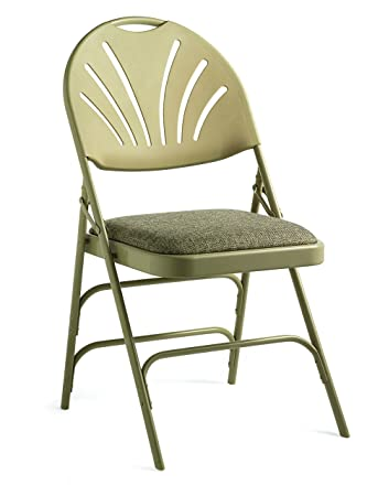 Miraculous Samsonite Xl Series Folding Chair 4 Pack Neutral Beige Commercial Grade Fanback Design Padded Steel Fabric Seat Pabps2019 Chair Design Images Pabps2019Com