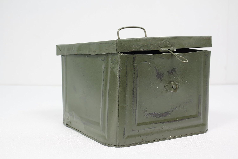 Caja Metálica Decorativa Estilo Industrial Vintage color Verde Militar, 23 x 23 x h16 cm - FRANCISCO SEGARRA: Amazon.es: Hogar