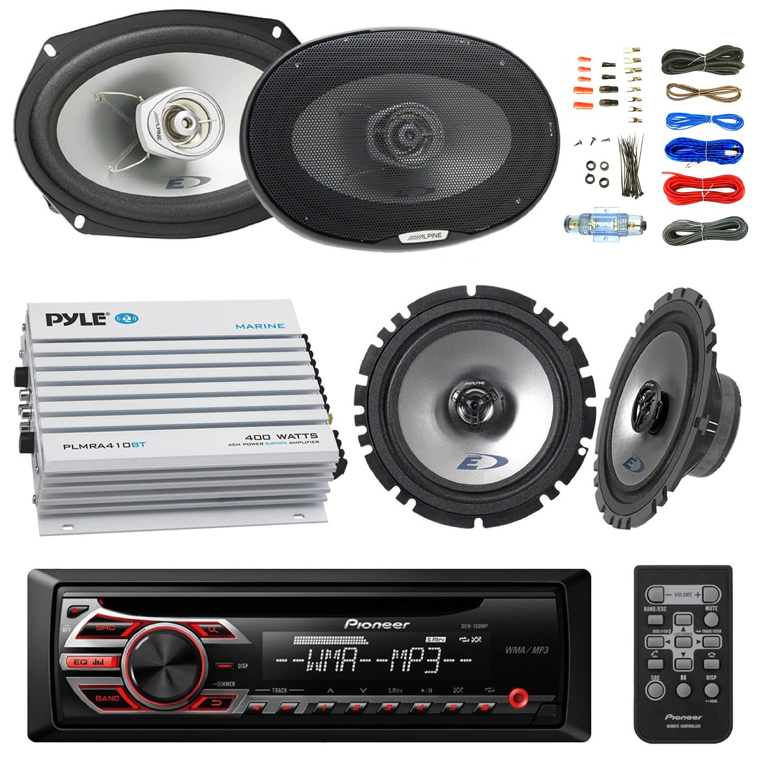 Pioneer Deh150mp Din Car Stereo Kit Bundle With 2 Alpine Fh X700bt Wiring Diagram On Pyle Audio 6x9 Inch Way Speakers 65 Coaxial Enrock 4 Channel
