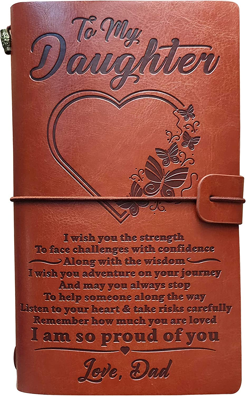 To My Daughter Embossed Vintage Leather Journal -I am So Proud of You, Dad's Gift Writing Journal with 2 Refillable Notepads for Graduation Christmas Birthday and so on(Heart Dad)