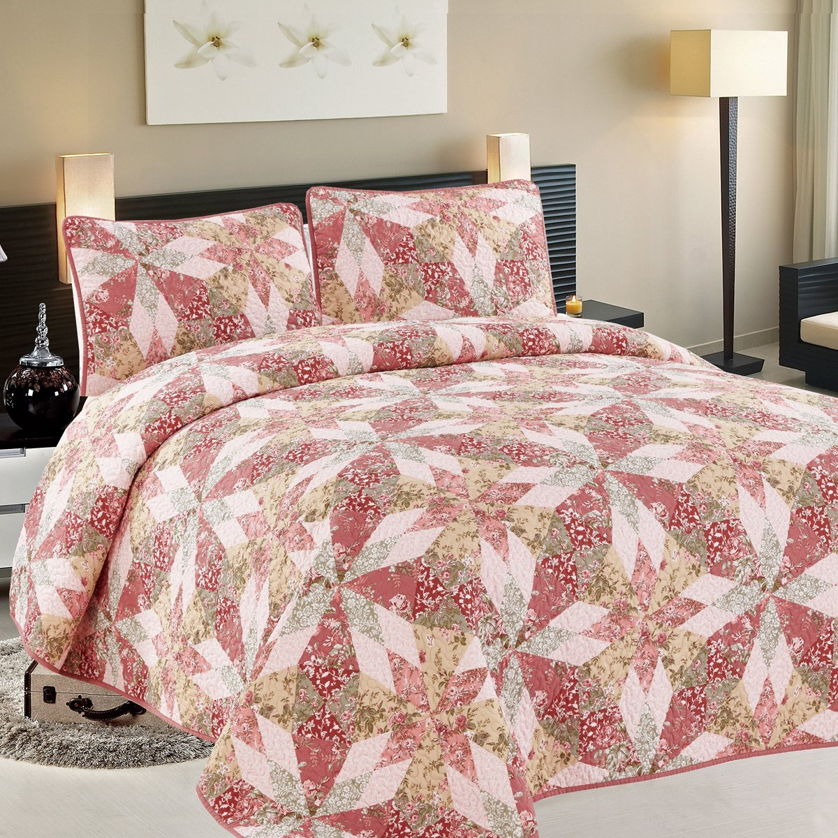 3 PC Soft Floral Print Quilt Set, Coverlet & Throw, King