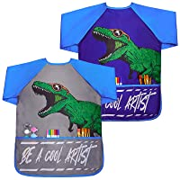 Play Tailor Smock for Kids Boys 2 Pack Painting Art Smocks Dinosaur Long Sleeve Waterproof Apron with Pockets