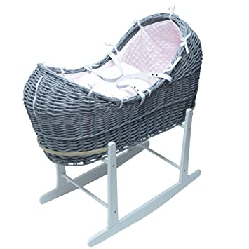 White Pod Moses Basket With White Waffle Dressing On Deluxe White Rocking Stand